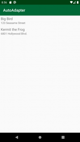 The populated RecyclerView