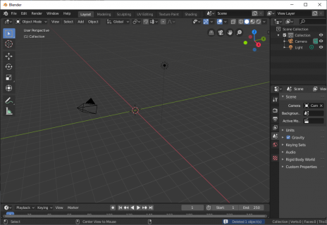The default new blender project view