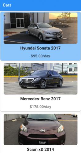 Liste des voitures avec la carte sélectionnée surlignée en bleu