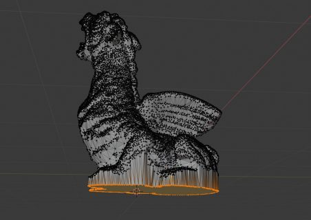 side view of the scaled vertices creating the new base for the dragon