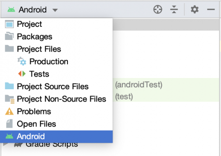 Android view in Android studio left pane