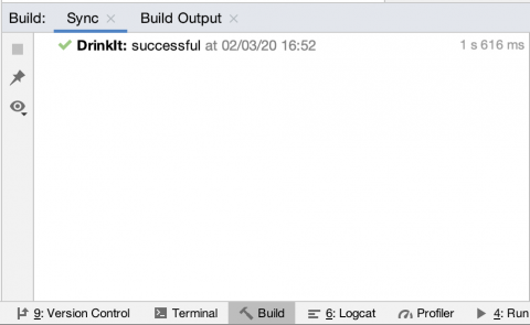 Android Studio build window indicating build was successful