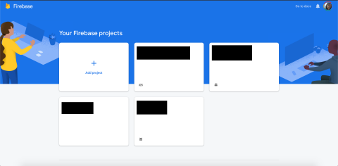 Firebase console with add project button if you have other projects
