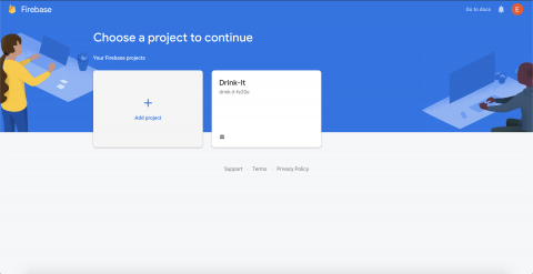 Firebase console with the Drink-It project listed in the main page