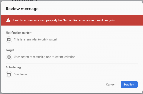 Alert displayed in Firebase console confirming the notification data