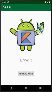 Drink-It app initial view with a button to retrieve the token
