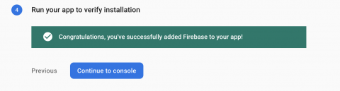 Message showing your app has communicated correctly with Firebase