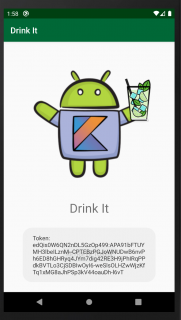 App showing the retrieve token in a toast message