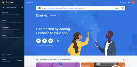 Project hompage with options to add Firebase to an app