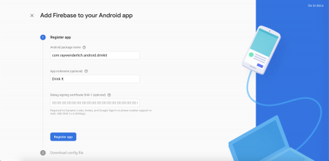 Screen with the Android app details filled in