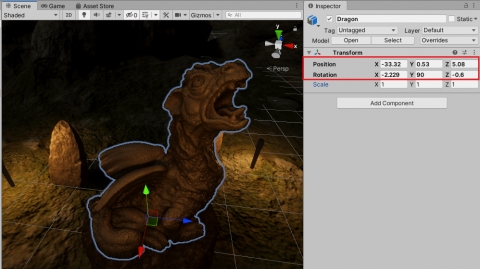 The positioned and rotated Dragon model