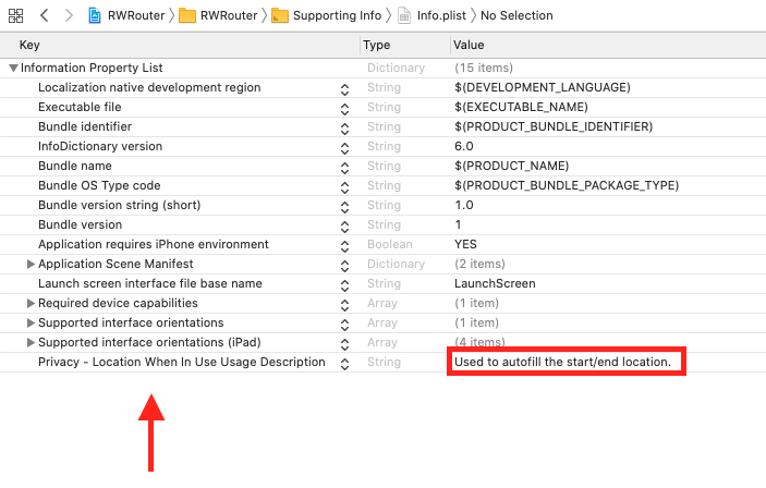 Xcode-plist with NSLocationWhenInUseUsageDescription highlighted