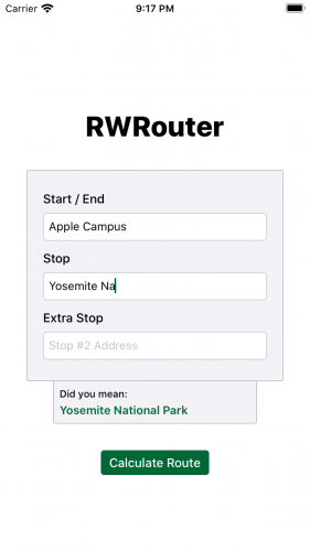 RWRouter initial screen with suggestion view