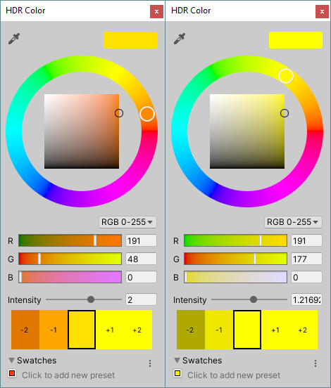 Settings for the color pickers