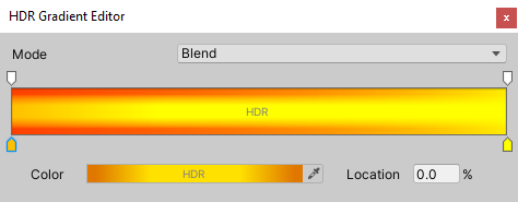 Settings for the Gradient editor