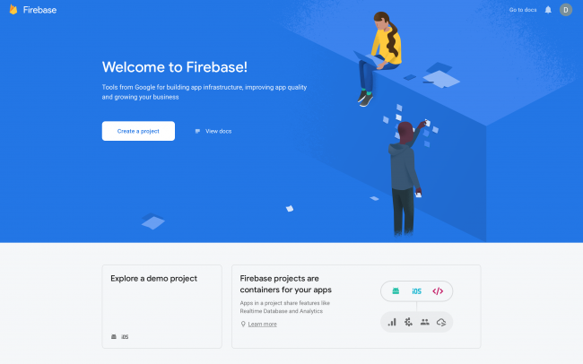 Firebase console with create a project button if this is your first project
