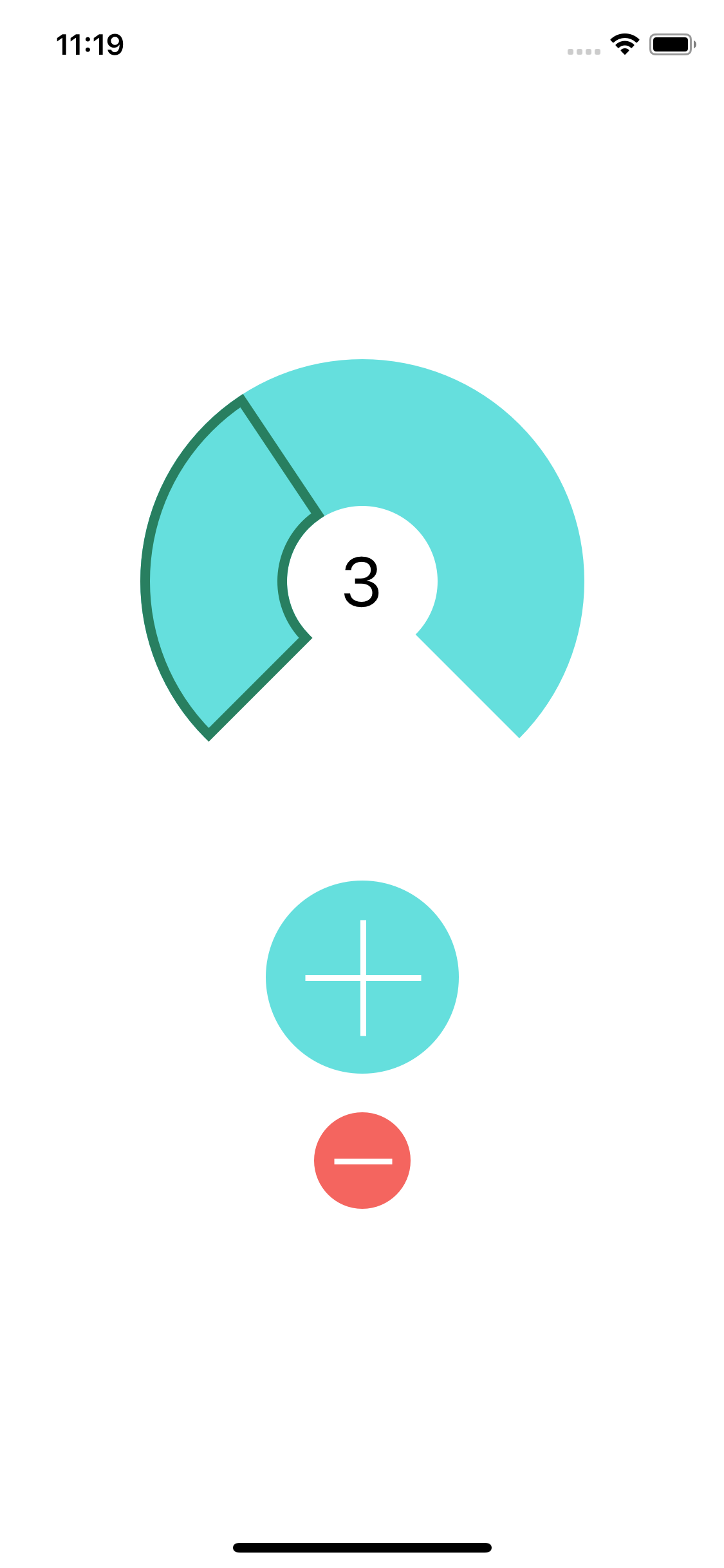 screen with two buttons and an arc with number 3 in the middle