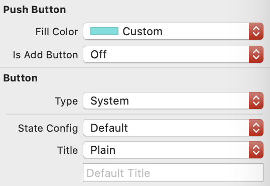 plus button properties in attributes inspector