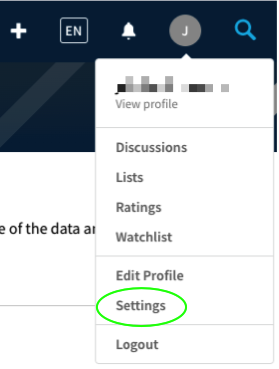 TMDb profile menu with Settings circled