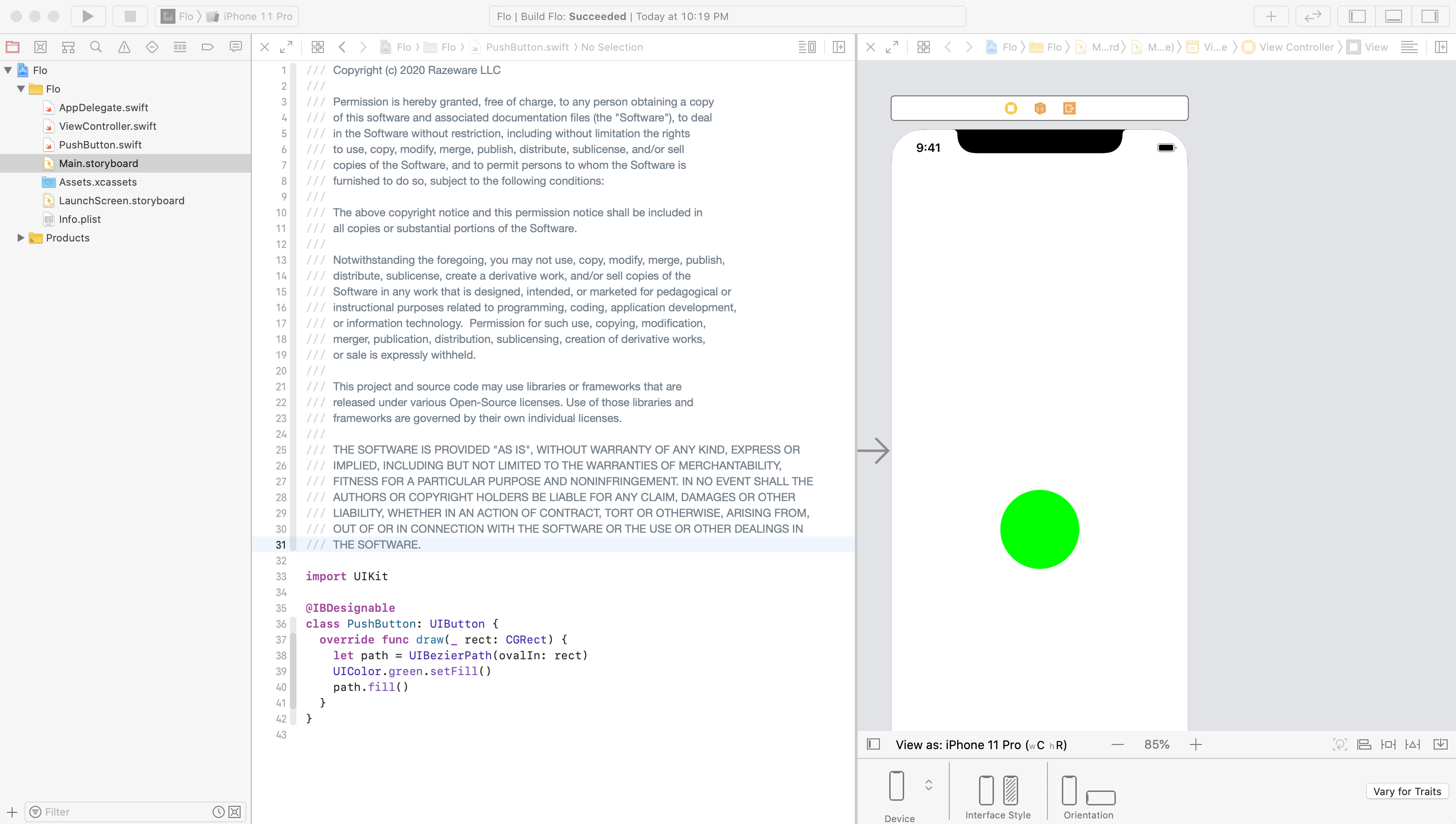 two files showing PushButton.swift and Main.storyboard