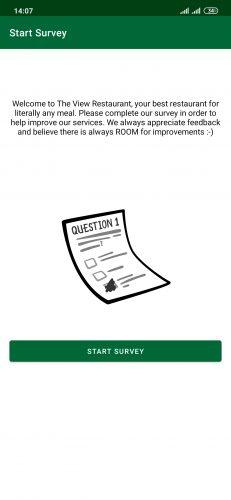 Start Survey screen of the Customer Surveys app