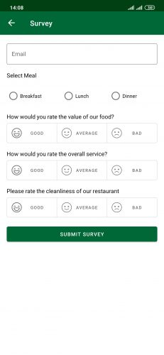 Customer Surveys app's survey screen with questions and possible ratings