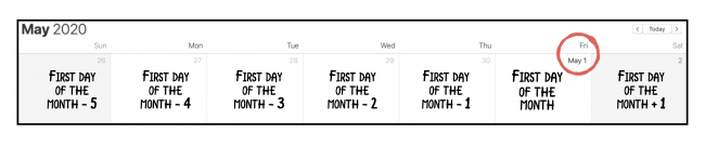 The first week of May 2020, from April 26 to May 2