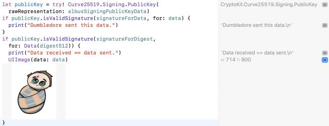 Code CryptoKit utilisant la clé publique pour vérifier la signature de la clé privée