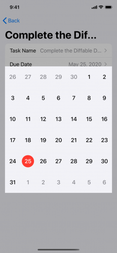 The calendar for May 2020 with May 25 selected