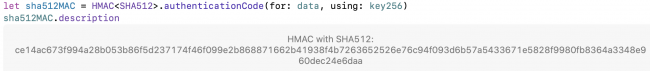 Description de la signature CryptoKit HMAC 512 bits