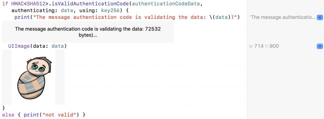 CryptoKit authentifiant la signature et les données HMAC