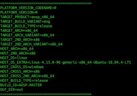 La sortie générée en exécutant la commande déjeuner après avoir sélectionné l'API cible et le type d'émulateur