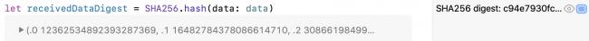 CryptoKit SHA256 résumé des données
