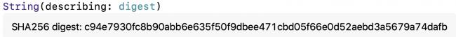 Description de la chaîne du condensé CryptoKit