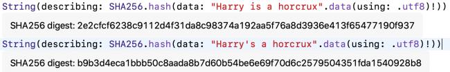 Les résumés CryptoKit de données presque identiques sont très différents.