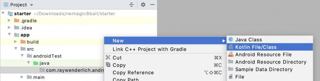 Création d'un nouveau fichier / classe Kotlin