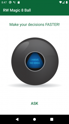 RWMaggic8Ball app's main screen, showing a Magic 8 Ball