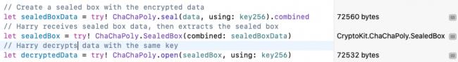 Code CryptoKit pour le sceau ChaChaPoly et les opérations ouvertes
