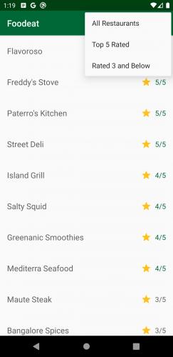 Écran de démarrage Foodeat avec le menu ouvert