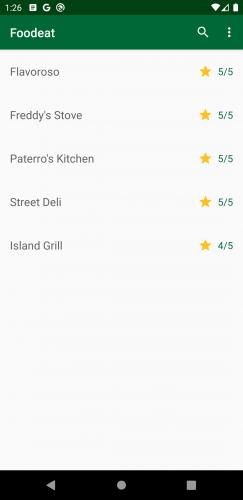 Écran affichant uniquement les 5 meilleurs restaurants