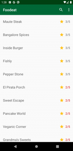 Screen showing restaurants with rating below 3 stars