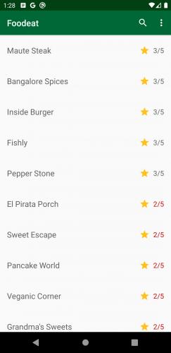 Écran montrant les restaurants dont la note est inférieure à 3 étoiles