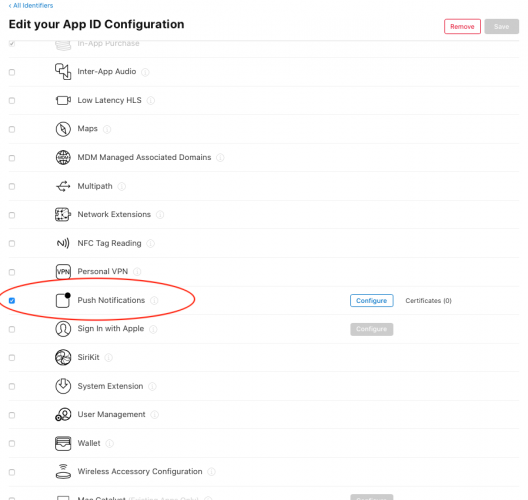 App ID configuration showing push notifications entitlement