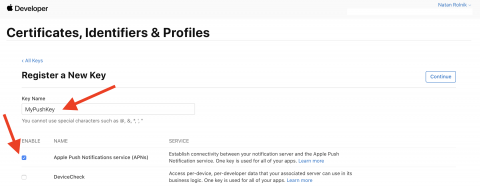 Register a New Key page with arrows pointing to the Key Name field and Enable button