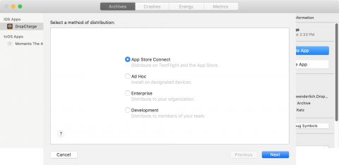 Distribution method screen with 'App Store Connect' selected