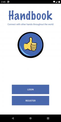 Handbook app starting screen