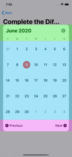 Sections of the calendar picker with the header view at the top, the month view in the middle and the footer view at the bottom.
