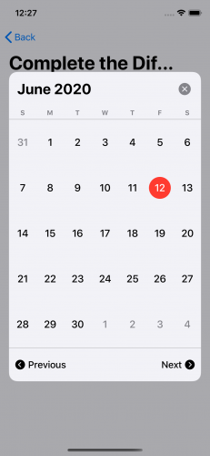 The calendar picker with the header and footer displayed