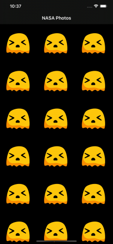 An angry and frustrated little alien appear for each image that fails to load