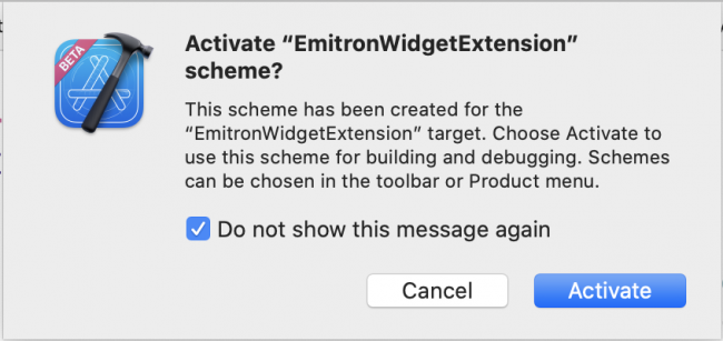 Activate scheme for new widget extension.